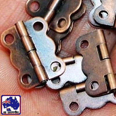 50pcs 16x12mm Small Antique Brass Butterfly Hinges Decor w/Screws TNDO29501x50