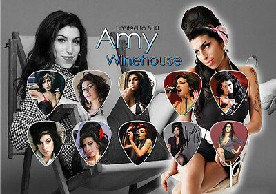 Amy Winehouse (2) guitar picks on photo display LIMITED
