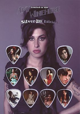 Amy Winehouse - Silver - guitar picks on photo display LIMITED