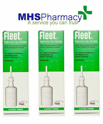 3 x Fleet Ready To Use 21.4g Latex Free Enema For Occasional Constipation Relief