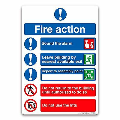 Fire Action Symbolised Plan A5 148x210mm Self-adhesive Vinyl Sticker Safety Sign