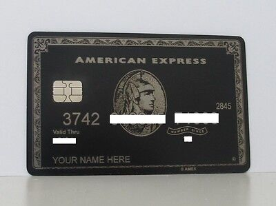 American Express Black Centurion Card Amex With Chip , With Your Name