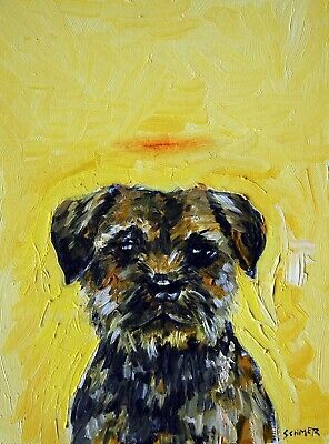 border terrier angel memorial halo  dog art print 13x19