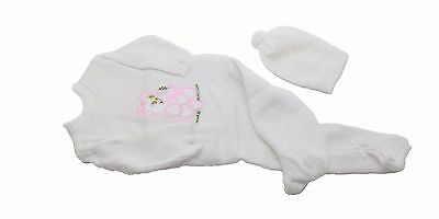 White Crochet New Born Baby Set Pink Baby Bear Three piece includes a hat