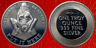 1 Troy Oz. .999 Pure Silver Baseball Beauties Naked Girl Coin