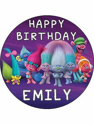 """Trolls 7.5"""" Personalised round edible cake topper printed on Premium Wafer Card"""
