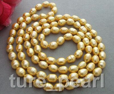 """New 12MM 50"""" Golden freshwater cultured pearl Necklace 50"""""""