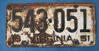 1951 Virginia license plate with 51 in the number