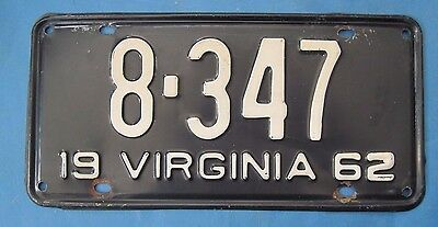 1962 Virginia License Plate - neat, low, 4-digit number!
