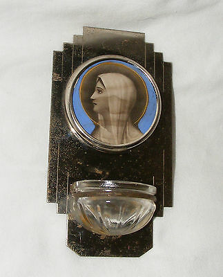 Antique Art Deco Holy Water Font Chrome Glass Virgin Mary Madonna Religious Icon