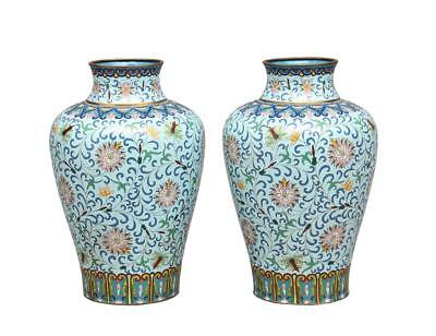 Pair Of 19Th Century Chinese Cloisonne Enamel Vases