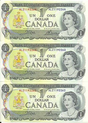 Bank of Canada 1973 $1 One Dollar Lot of 3 Consecutive Notes ALZ Prefix UNC