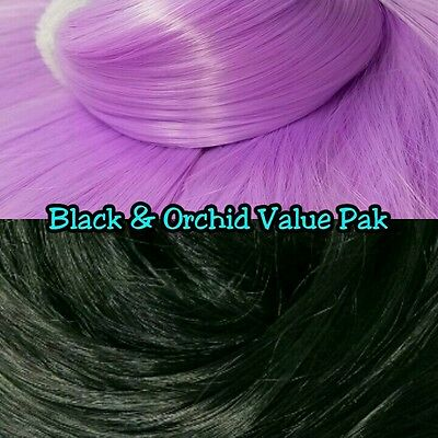 Orchid Purple & Black XL 2 Color Valu Pak Nylon Doll Hair Reroot Ever After High