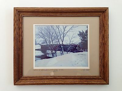 L. Clint Greer Signed Winter at Whiterock Covered Bridge Photograph Lancaster PA
