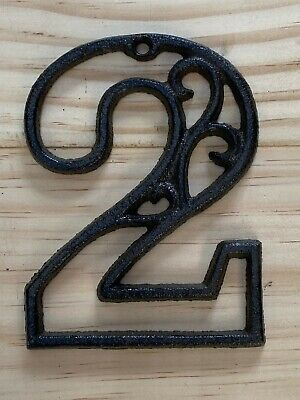 Vintage-Style Cast Iron Decorative Scroll NUMBER TWO (2) Address Street House