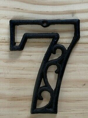 Vintage-Style Cast Iron Decorative Scroll NUMBER SEVEN (7) Address Street House