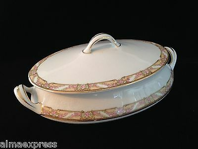 Homer Laughlin Empress China E1315M Pink Roses Gold COVERED CASSEROLE VEGETABLE