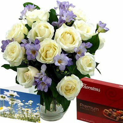 Clare Florist Amethyst Gift Selection of Fresh Flowers and Chocolates