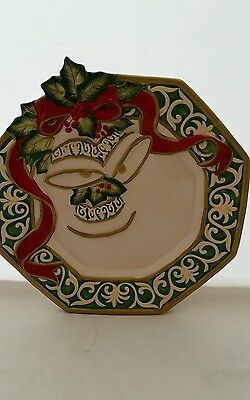 Fitz and Floyd Essentials Christmas Bell Canape Plate