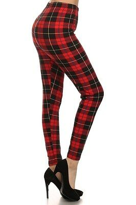 New Women's One Size Red Plaid Checker Print Leggings Full Long S-XL Comfy N254