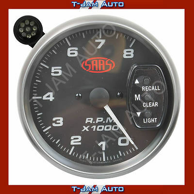 SAAS Tacho Black Face 5 Inch 8,000 rpm Gauge Shift Light NEW