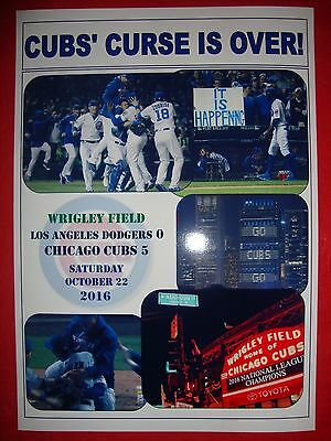 Los Angeles Dodgers 0 Chicago Cubs 5 - Cubs in World Series - souvenir print