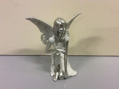 New Silver& White Sitting Fairy Figurine 17.5cm Tall Home Decoration