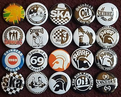 SKA Skinhead Button Badges x 20. Pins. Collector. Wholesale. Bargain :0)