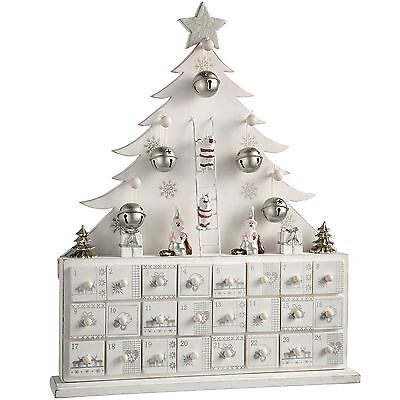 WeRChristmas Wooden Tree Advent Calendar Christmas Decoration White 40 cm