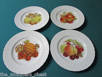 """Wallace Hutschenreuther Germany 4 salad/fruit transferware plates 8"""" diam[a*12]"""