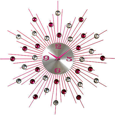 Pharmore 53Cm Pink Large Frameless Fashion Home Decor Modern Wall Clock Time New
