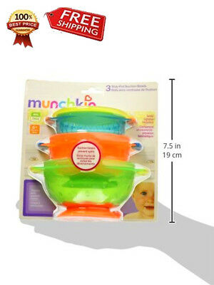 Suction Stay Put Bowl Baby 3 Munchkin Bowls Spill Count Proof Feeding Brand New