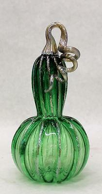 HAND BLOWN GLASS ART SCULPTURE PUMPKIN GOURD 7182 green ONEIL