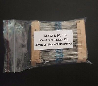 UK 300Pcs 30 Value 1% Metal Film Resistor Kit Assortment Mix 1/6 & 1/8w Not 1/4w