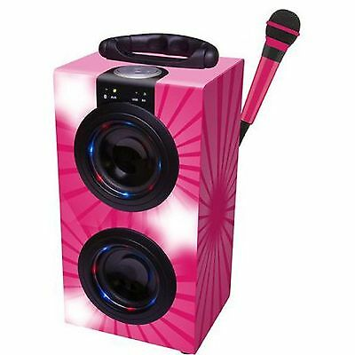Lexibook Portable Karaoke Machine with Microphone in pink with Lights