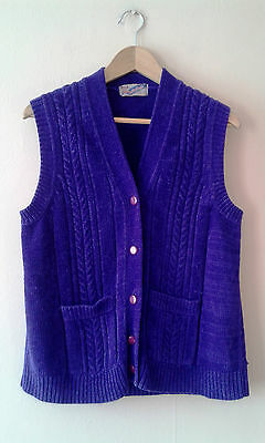 1970s vintage bright purple chenille waistcoat gilet body warmer cardigan 14 16
