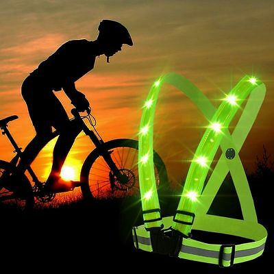 High vis LED USB Safety Reflective Strips Vest Night Running Biking Outdoor