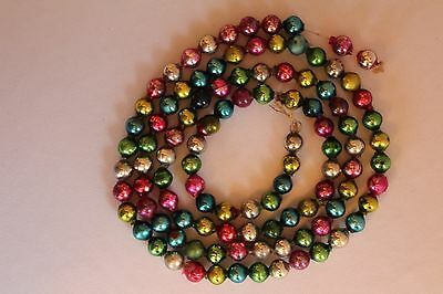 "Vintage Mercury Glass Beaded Christmas Garland Multi Color 51"" - 7/16"" Beads"