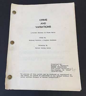 Crime and Variations Movie Script Anthony Perkins Stephen Sondheim (never made?)
