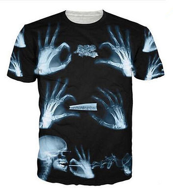 SUMMER  Women/Men's X-RAY hand and head Skull 3D Print Casual Tops T-Shirt S-5XL