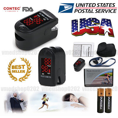 US Finger Fingertip Blood Oxygen Meter SPO2 LED Pulse Heart Rate Monitor,battery