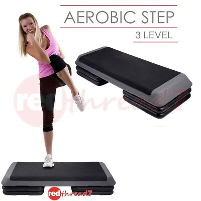 Exercise Step Aerobic Workout Gym Fitness Bench Riser 3 Level Stack Black Grey