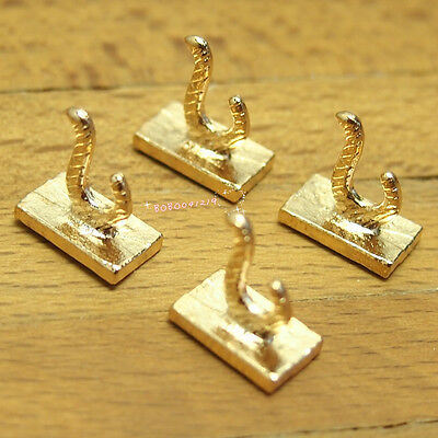 Dollhouse Miniature 1:12 Toy 4 Pieces Metal Golden Hooks Hanger Length 1cm X0416