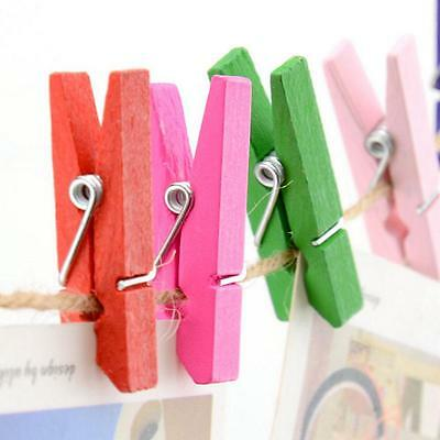50pcs Small Size Colorful Wooden Clothespin Photo Paper Mail Clips Book Folders