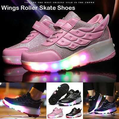 USA Students LED RGB Lace Up Luminous Boys Girls Wings Roller Skate Shoes