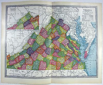 Original 1904 Map of Virginia by The Americana Company