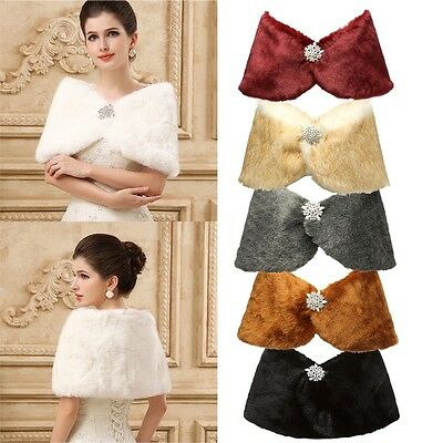 Bridal Wedding Faux Fur Stole Shawl Wrap Shrug Shoulder Scarf Women's Party Cape