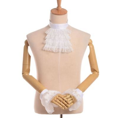 Lace Ruffle Detachable Collar &Cuff Set Steampunk Edward Jabot VictorianCollar