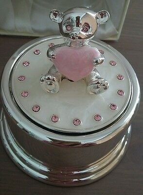 Music Box Lullaby Pink Teddy Bear Wind Up Mechanism New Baby/Christening Gift
