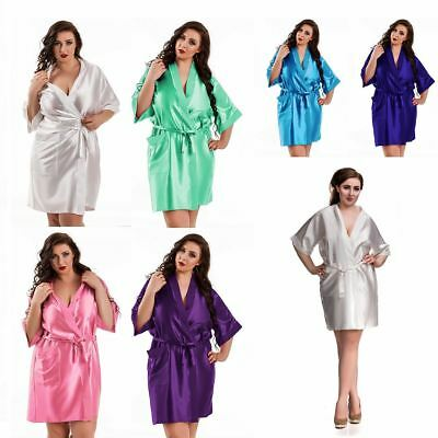 Nine X Satin Dressing Gown Plus Size 8-26 S-7XL Bridesmaid, Children Robe